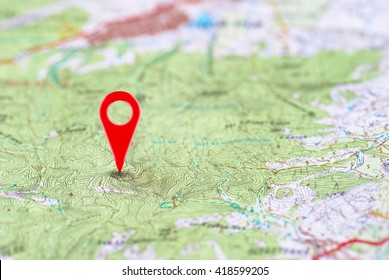 Red pin, point on the abstract noname map. Concept travel background