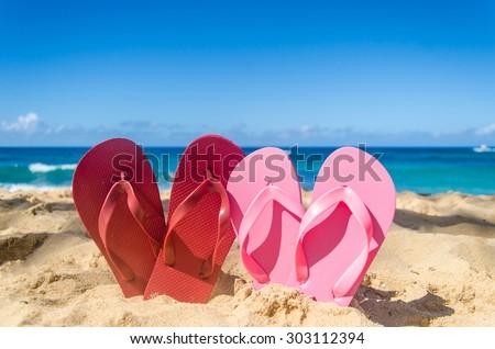 c5a590d3e3fb Red Pink Flip Flops Heart Shapes Stock Photo (Edit Now) 303112394 ...