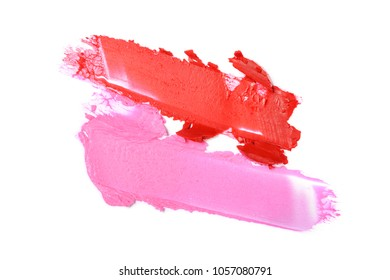 Red and pink lipstick stroke for make up as sample of cosmetic product isolated on white background