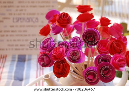 Red pink rolled paper flowers rose stock photo edit now 708206467 red and pink rolled paper flowers in a rose bouquet in a vase with text in mightylinksfo