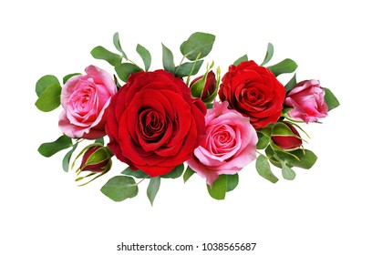 Red and pink rose flowers with eucalyptus leaves in a floral arrangement isolated on white background. Flat lay. Top view.