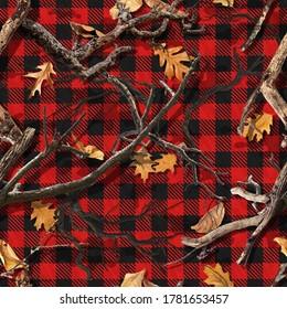 RED PLAID FALL CAMO SEAMLESS - Shutterstock ID 1781653457