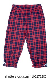 The red plaid pajama pants isolated on white