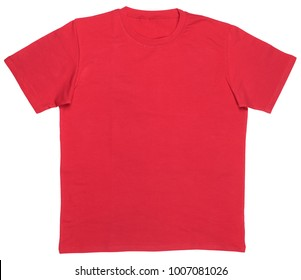 Red plain shortsleeve cotton T-Shirt template isolated on a white background