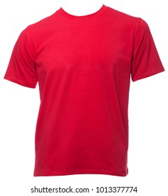 Red plain shortsleeve cotton T-Shirt on a mannequin isolated on a white background
