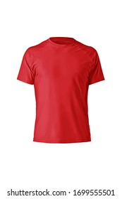 Red plain shortsleeve cotton T-Shirt isolated on a white background. Stylish round collar shirt. Ghost mannequin photography