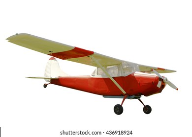 the red plane on a white background