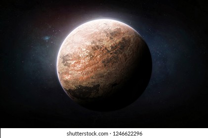 Red planet in the deep space. Mars in solar system. Wallpaper fiction. Elements of this image furnished by NASA
