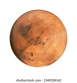 Red planet Mars on an isolated white background. Element for designers