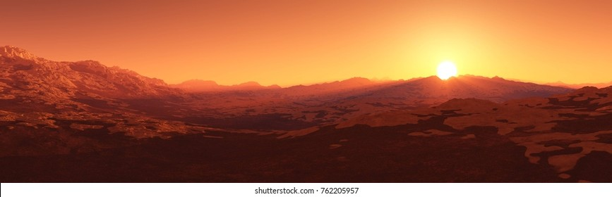 red planet, panorama of the surface of Mars, sunset on Mars, 3D rendering