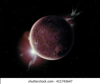 red planet in the universe with aura and stars.
