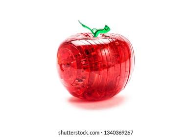 Red plastic apple-puzzle