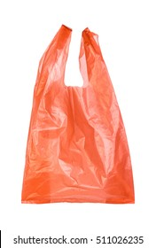 Red plastic bags isolated on white background