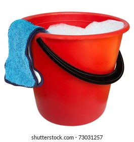 Red plastic bucket and floor cloth isolated on white background. Clipping path includes.