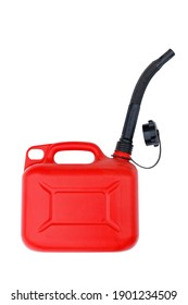 Red plastic canister with black spout for gasoline or other fuel. Isolated on white.