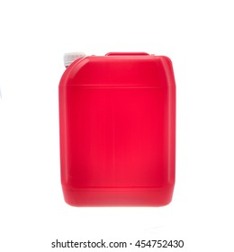 Red plastic canister, container; isolated on white background