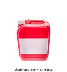Red plastic canister, container with label: your text here; isolated on white background
