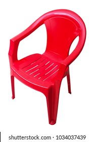 Red plastic chair isolated on white