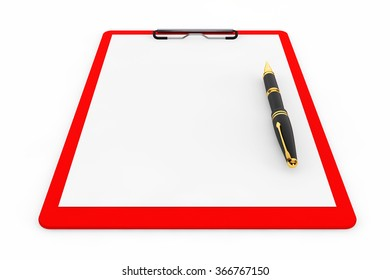 Red Plastic clipboard with Fountain Pen on a white background