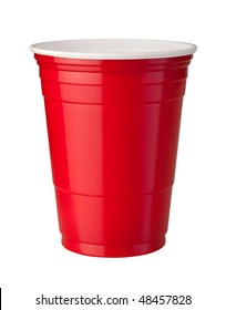 Red Plastic Cup isolated on white with a clipping path.