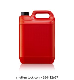 Red plastic gallon, jerry can  isolated on a white background.  (with clipping work path)
