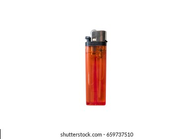 Red plastic gas lighter. Gas lighter isolated on white background. Closeup shot, top view