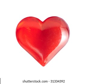 Red plastic heart isolated on white
