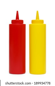 Red Plastic Ketchup and Yellow Mustard Containers. Isolated on White Background.