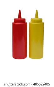 Red plastic ketchup and yellow mustard plastic bottle isolated on white background.