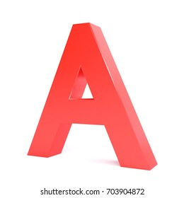 Red plastic letter A. Collection. 3d image