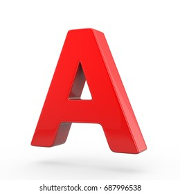 Red plastic letter A uppercase. 3D render font isolated on white background.