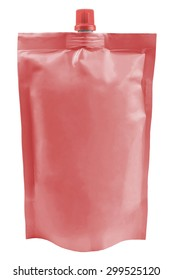 Red plastic pouch with batcher isolated on white background