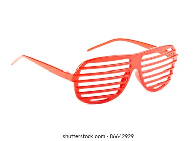 red plastic shutter shades sunglasses isolated on white background