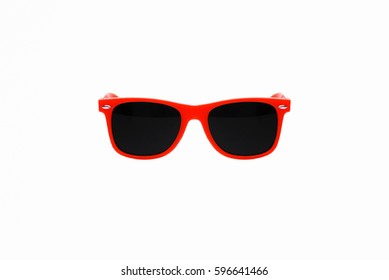 Red Plastic Sunglasses Isolated on White Background