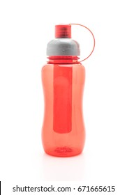 red plastic water bottle or  canteen on white background