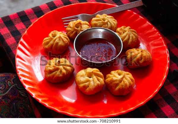Remarkable Red Plate Fried Momo View Table Stock Photo Edit Now 708210991 Download Free Architecture Designs Grimeyleaguecom
