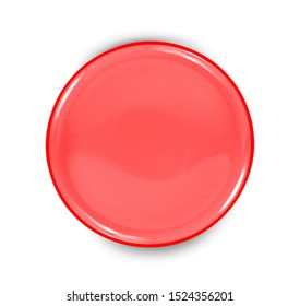 red plate isolated on white background.