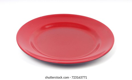 Red plate isolated on white