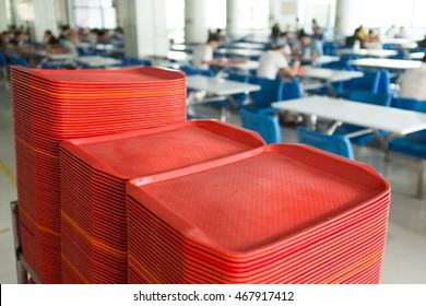 red plates in mess hall