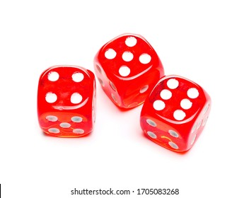 Red playing, gambling dice for tabletop games and poker isolated on white background