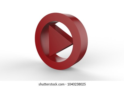 Red Playing and making video symbol on white background, 3d illustration.