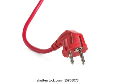Red plug with extension cable on white