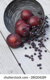 Red plums and dark purple berries spilling from a wire basket onto a gray wood table
