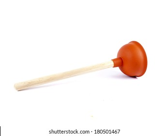 Red plunger used for unclogging toilets or sinks isolated over white