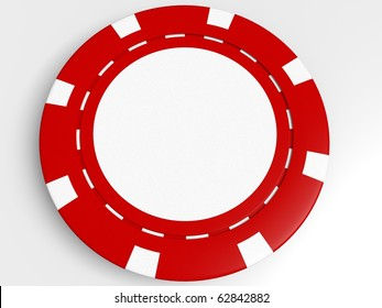 red poker chips isolated on the white