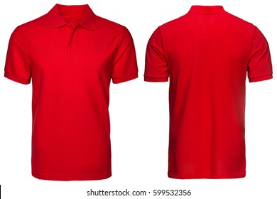 Red Polo shirt, clothes on isolated white background.