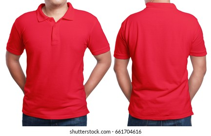 Red polo t-shirt mock up, front and back view, isolated. Male model wear plain red shirt mockup. Polo shirt design template. Blank tees for print