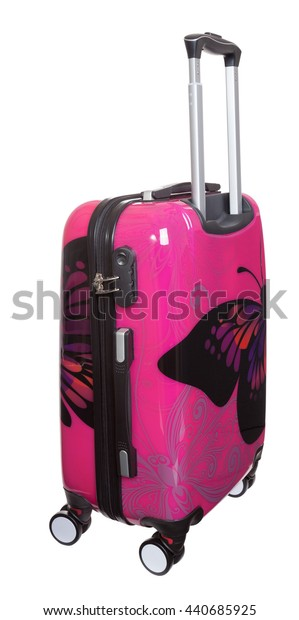 Red polycarbonate suitcase isolated on white with clipping path