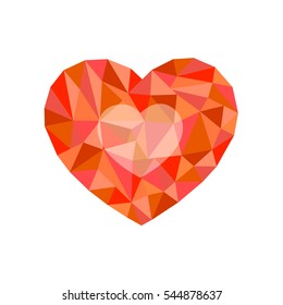 red polygonal heart. a symbol of Valentine's Day