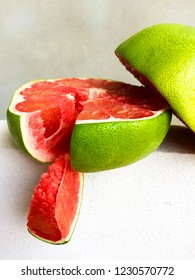 Red Pomelo citrus fruit that fresh, juicy and sweet .Asian pomelo fruit.